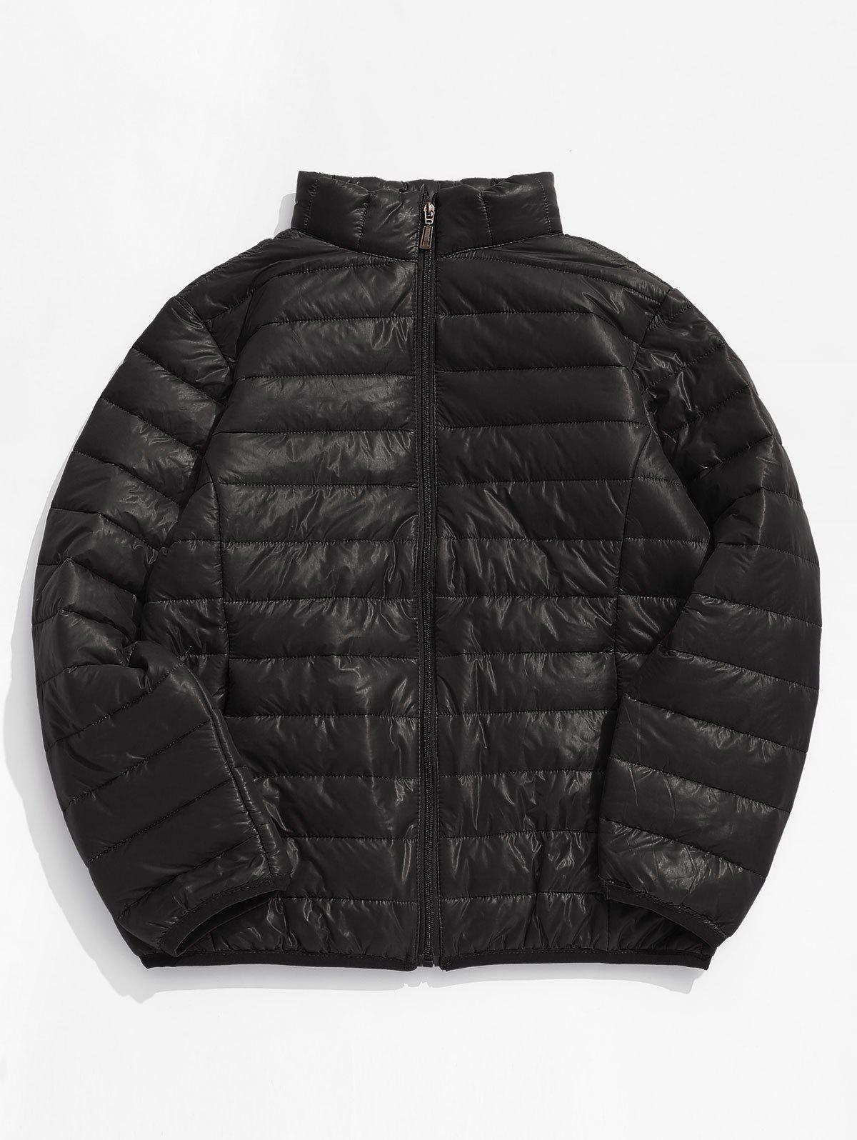 Latest Zip Up Solid Warm Lightweight Padded Jacket