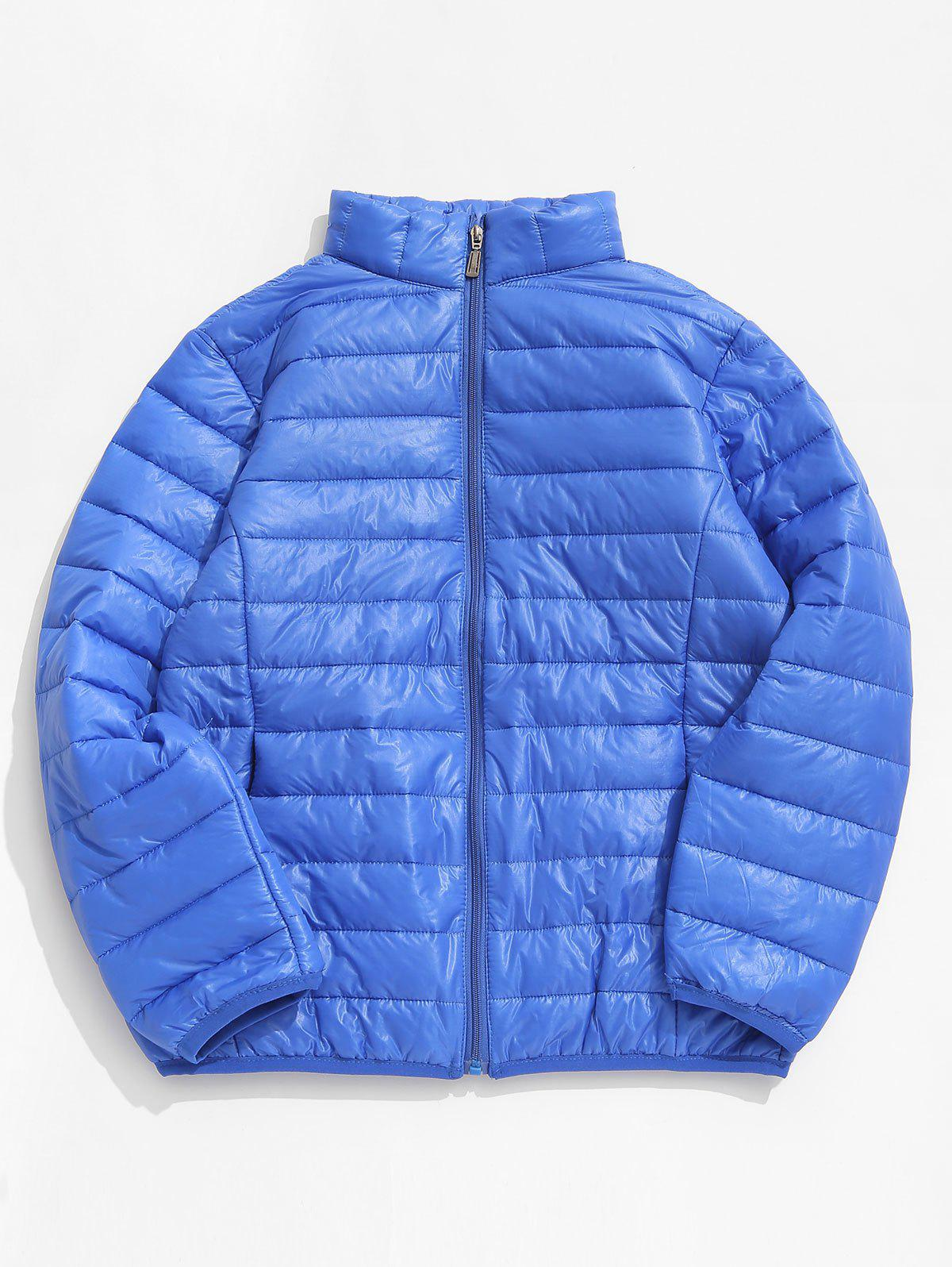 Affordable Zip Up Solid Warm Lightweight Padded Jacket