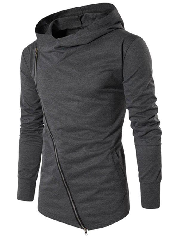 Outfits Solid Side Zipper Hooded Thin Jacket