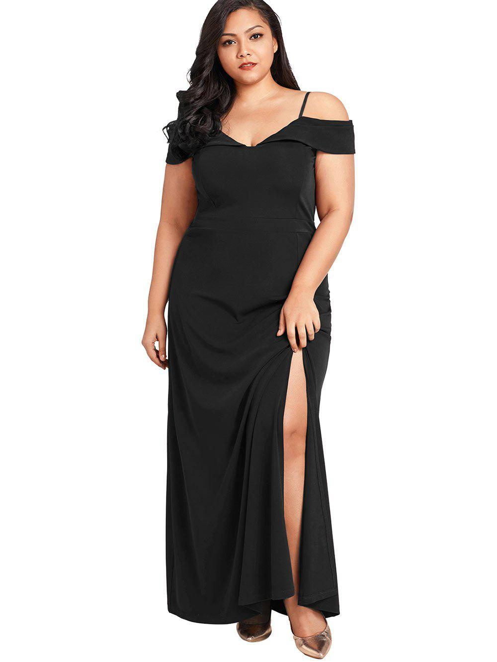 Spaghetti Strap Plus Size Maxi Dress Noir 4X