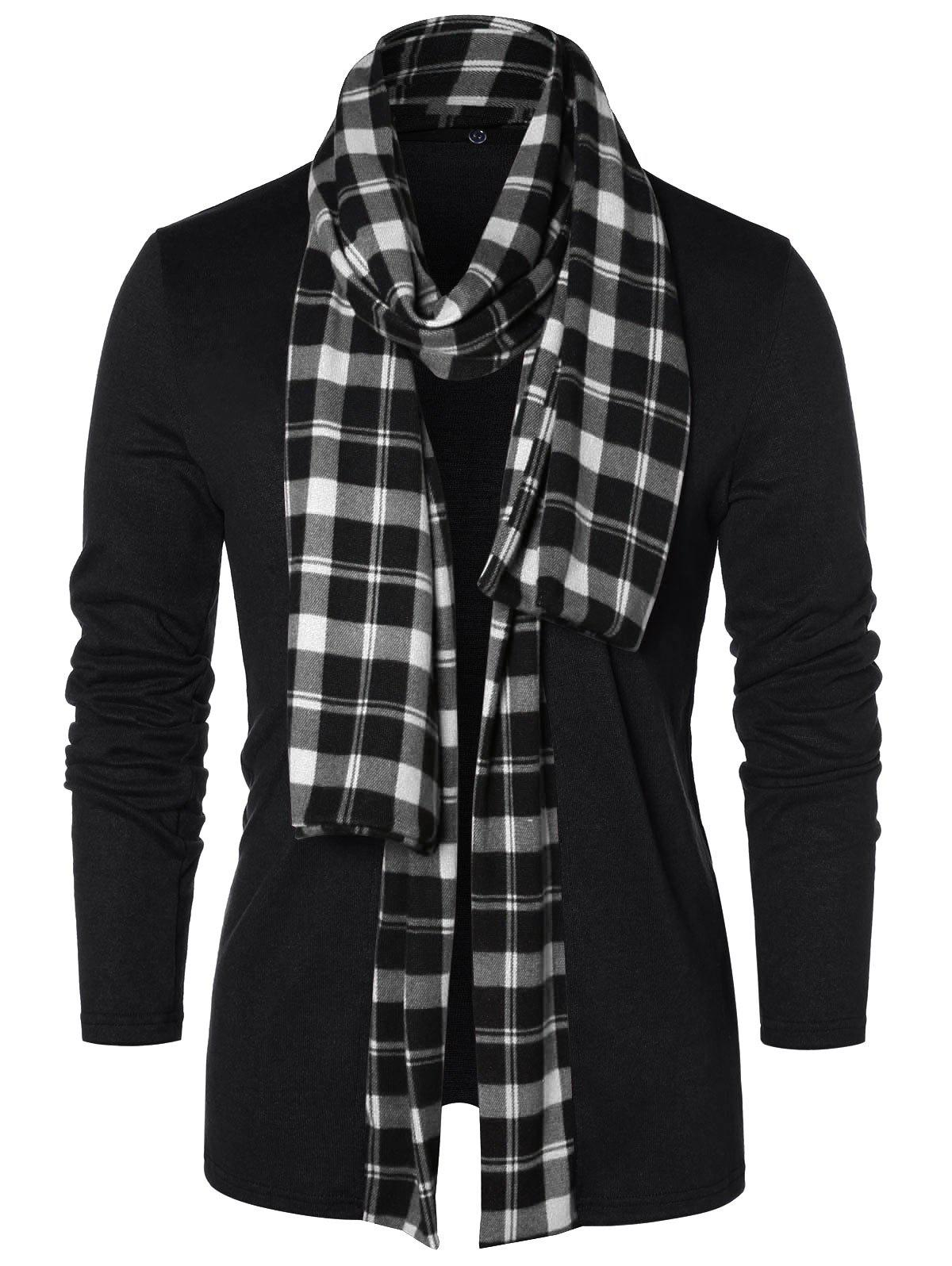 Trendy Checked Print Open Front Longline Cardigan