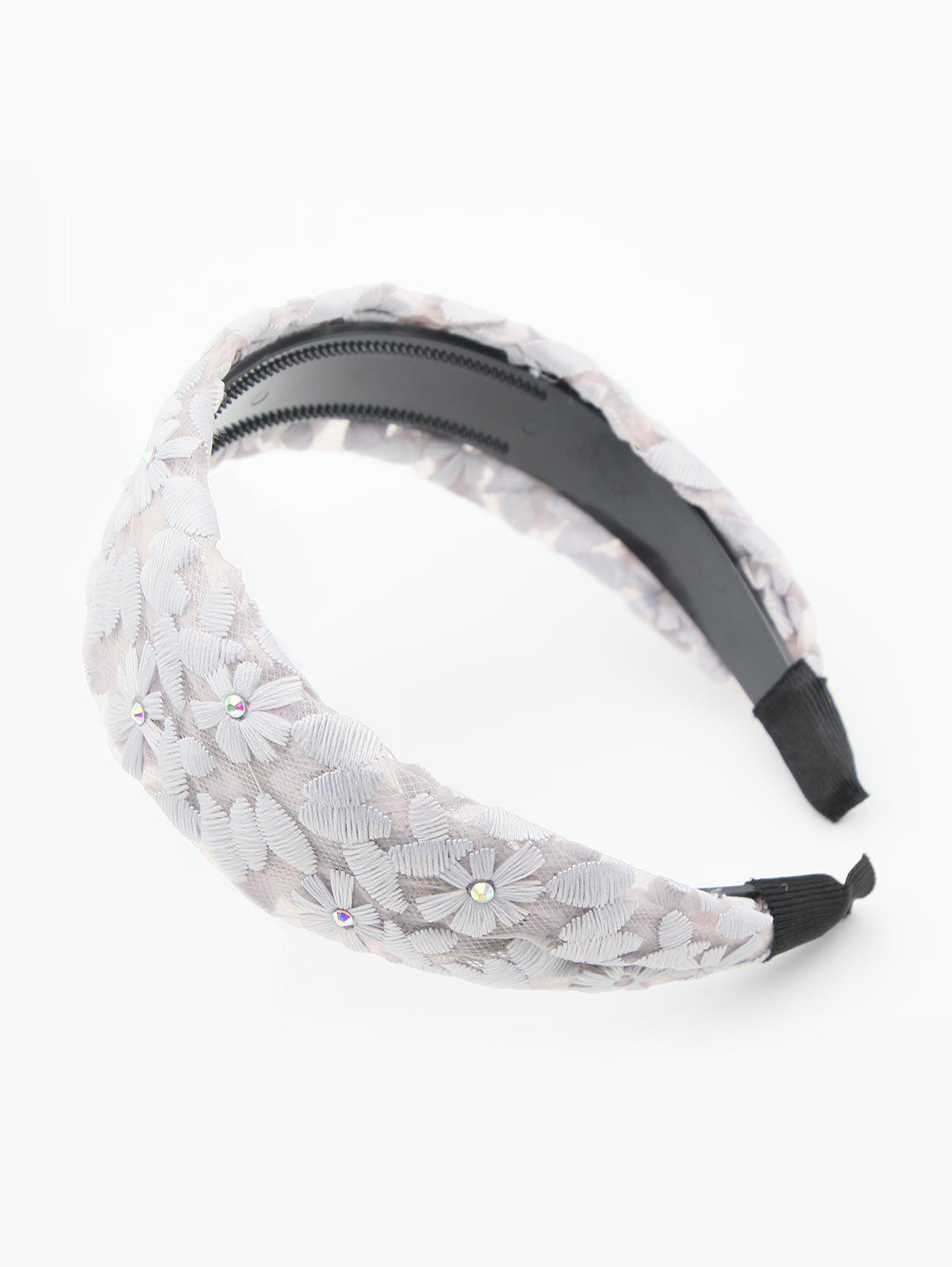Trendy Rhinestone Floral Lace Hair Band