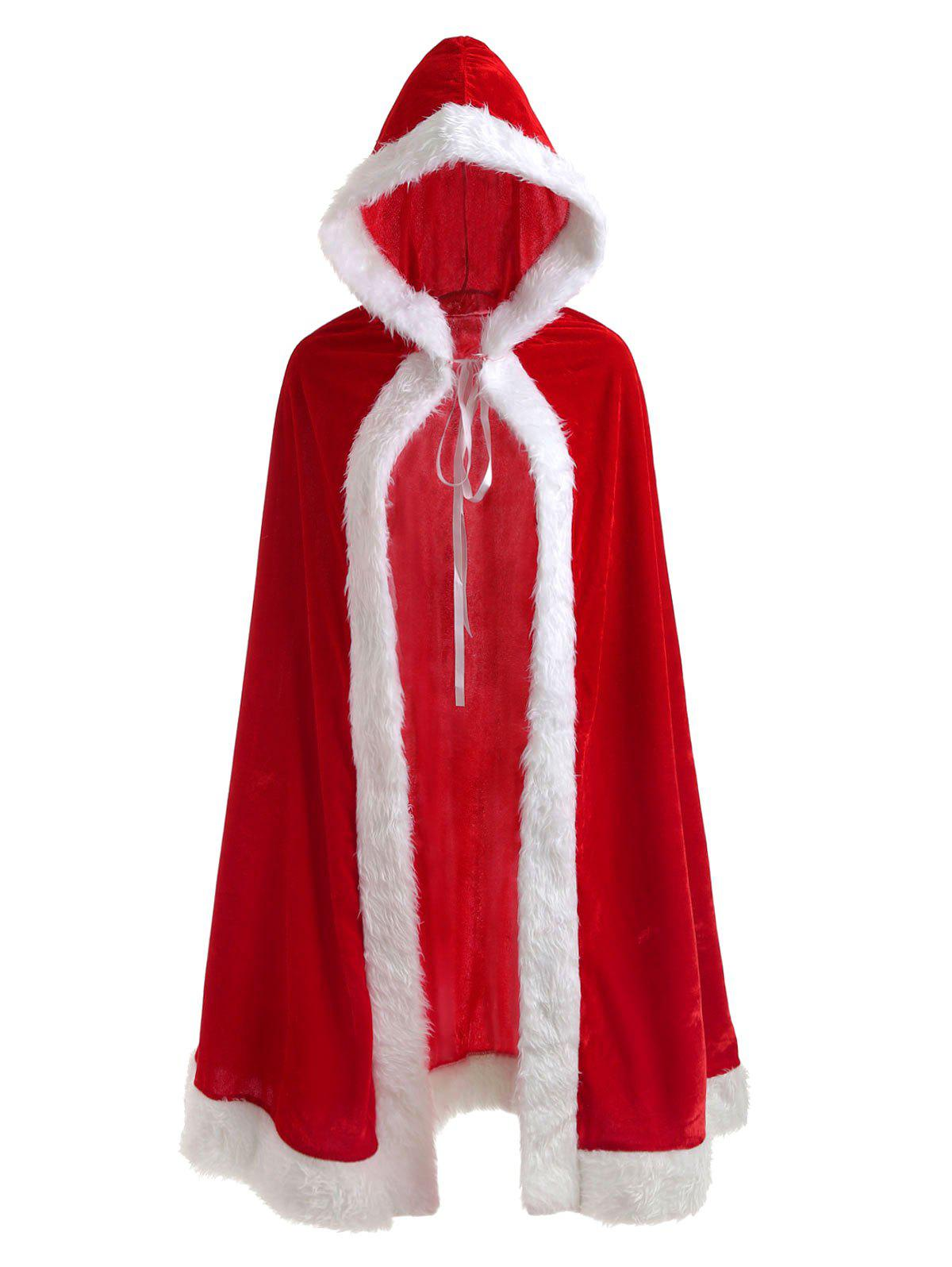 Outfit Christmas Costume Faux Fur Velvet Cloak