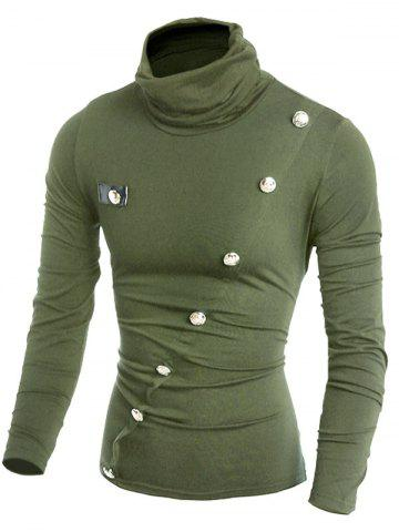 Turtleneck Button Decor Seam Patchwork Long Sleeve T-shirt