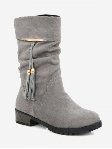 Plus Size Tassels Decor Ruched Boots