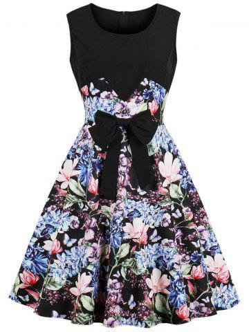 Vintage Sleeveless Bowknot Floral Print Pin Up Dress
