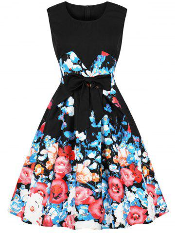 Vintage Floral Print Bowknot Knee Length Dress