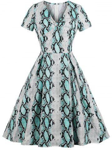 Vintage Snakeskin Print Fit and Flare Dress