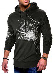 Cracked Glass Print Kangaroo Pocket Pullover Hoodie -