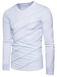 Solid Seam Patchworek Long Sleeve T-shirt -