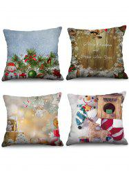 4PCS Christmas Bell Snowman Printed Pillow Cover -