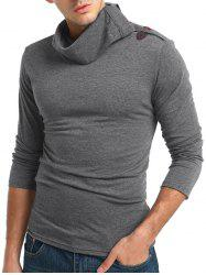 Solid Turtneck Toggle Button Pullover Long Sleeve T-shirt -