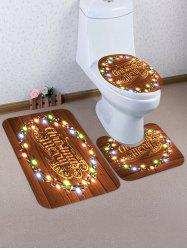 Merry Christmas Light Wooden Pattern 3 Pcs Bathroom Toilet Mat -
