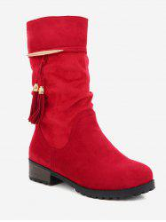 Plus Size Tassels Decor Ruched Boots -