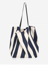 Canvas Simple Style Striped Open Tote Bag -