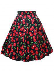 Plus Size Cherry Print A Line Skirt -