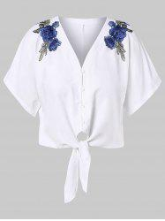 Floral Embroidery Tie Front Plus Size Blouse -