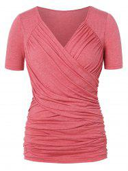 Ruched Front Cross Plus Size T-shirt -