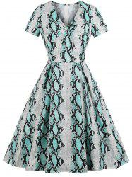 Vintage Snakeskin Print Fit and Flare Dress -