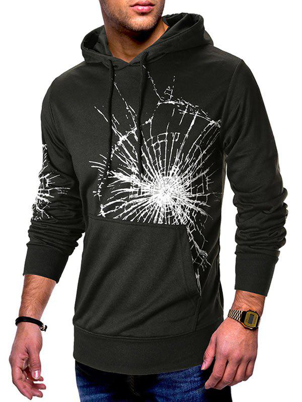 Latest Cracked Glass Print Kangaroo Pocket Pullover Hoodie
