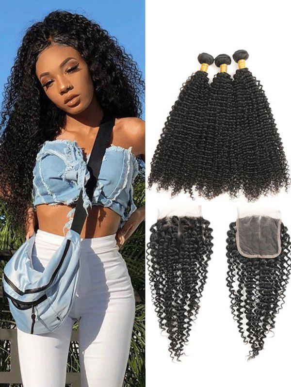 Fancy Real Human Hair Kinky Curly Brazilian Virgin Hair Weaves with Lace  Closure a883c61920