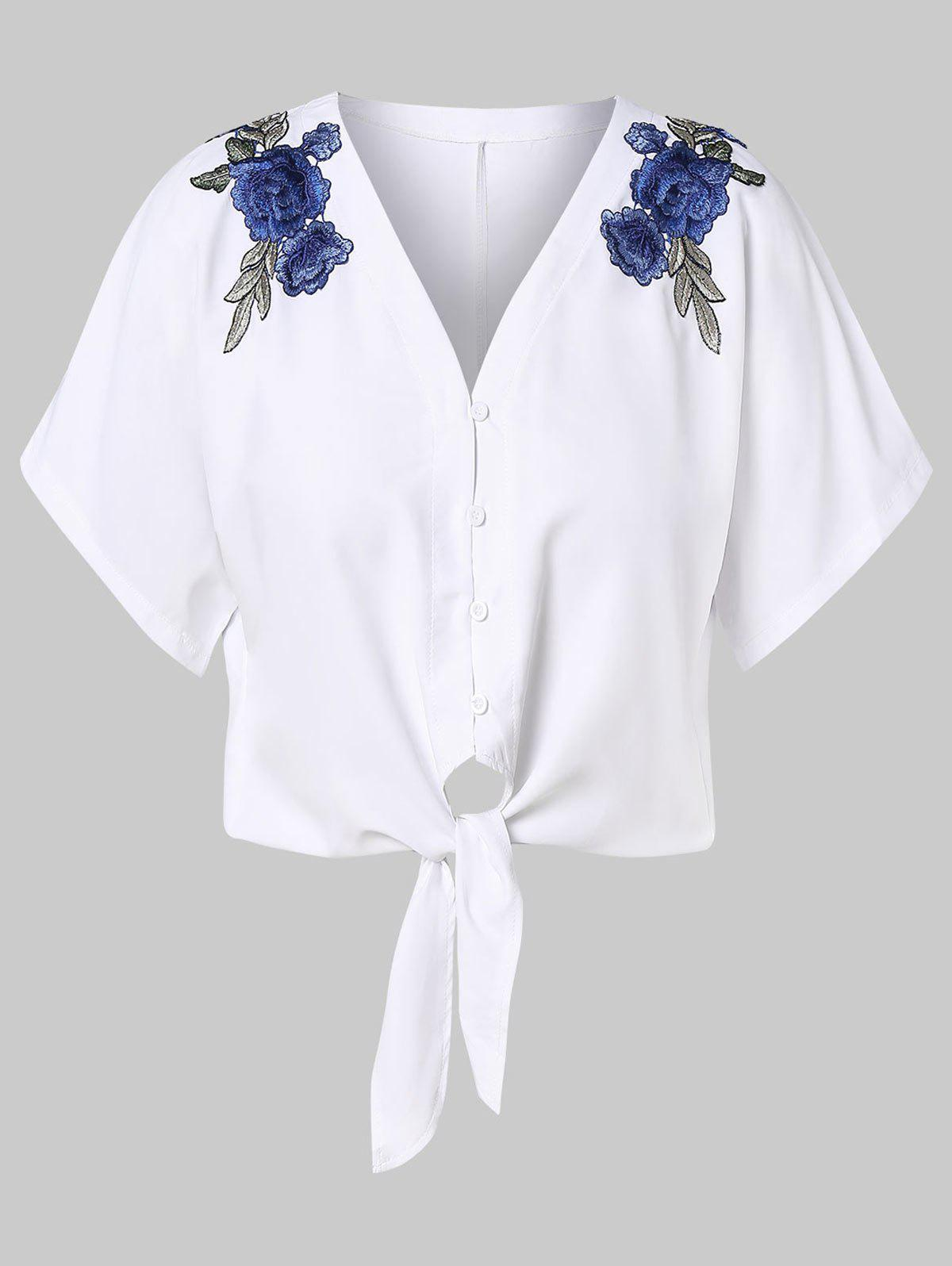 Latest Floral Embroidery Tie Front Plus Size Blouse