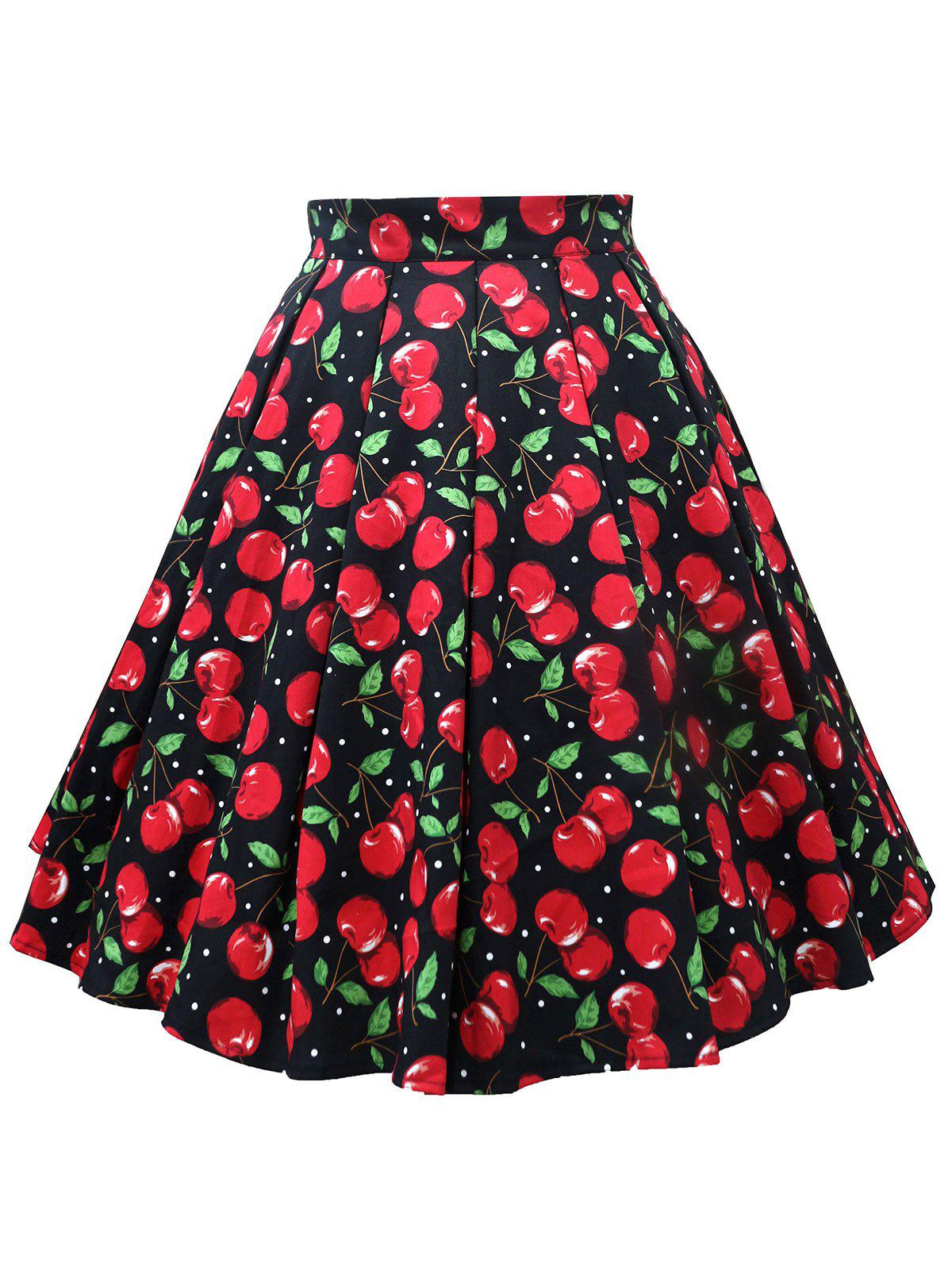 Discount Plus Size Cherry Print A Line Skirt