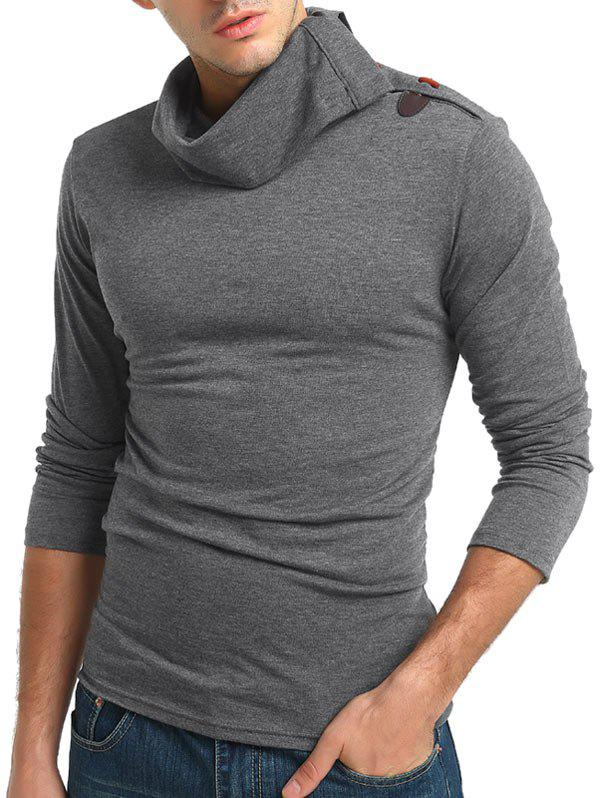 Buy Solid Turtneck Toggle Button Pullover Long Sleeve T-shirt