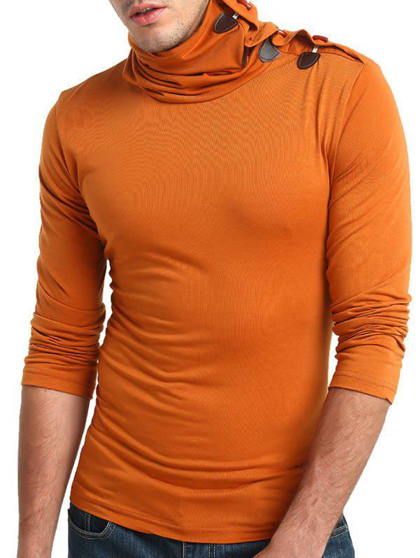 Shop Solid Turtneck Toggle Button Pullover Long Sleeve T-shirt