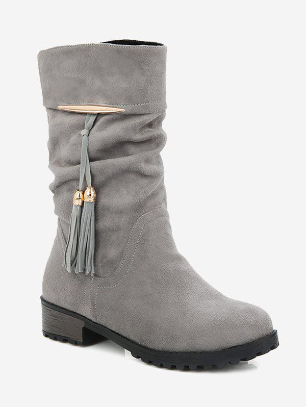 Discount Plus Size Tassels Decor Ruched Boots
