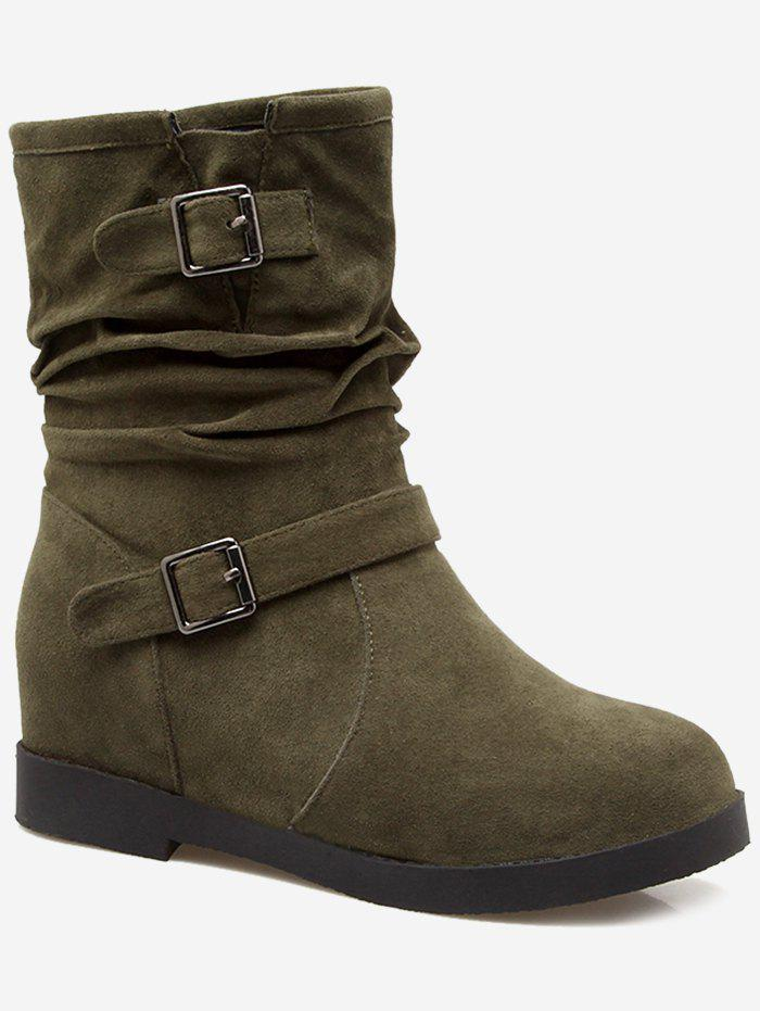 Shops Plus Size Ruched Hidden Wedge Mid Calf Boots