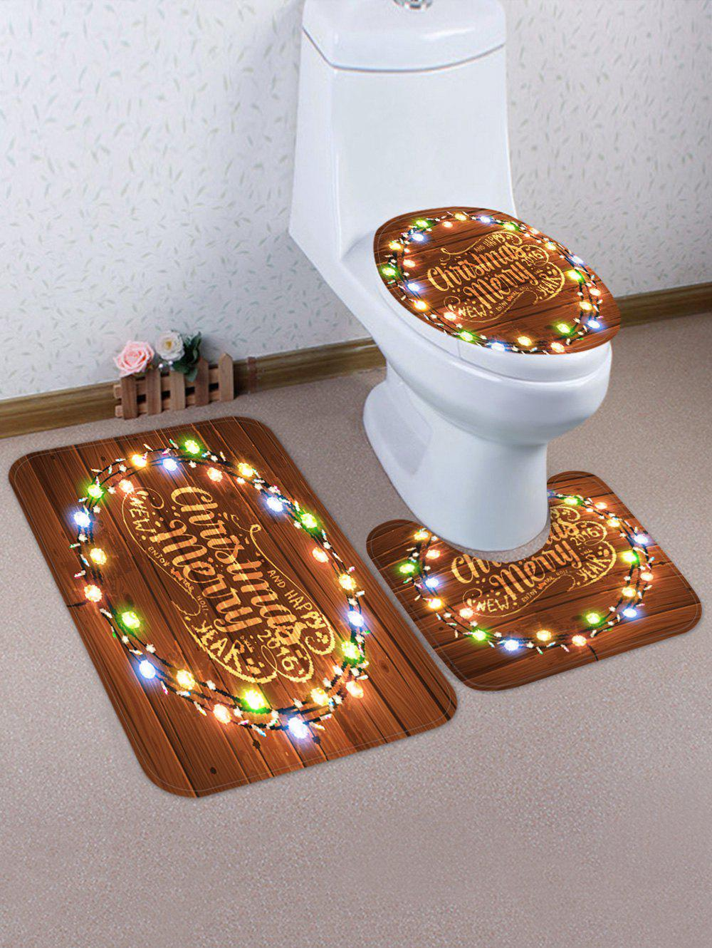 Trendy Merry Christmas Light Wooden Pattern 3 Pcs Bathroom Toilet Mat