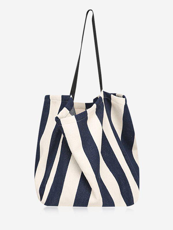 Latest Canvas Simple Style Striped Open Tote Bag