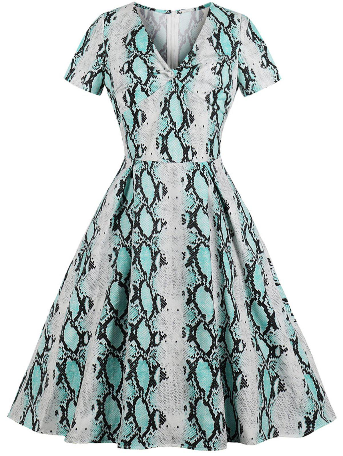 New Vintage Snakeskin Print Fit and Flare Dress