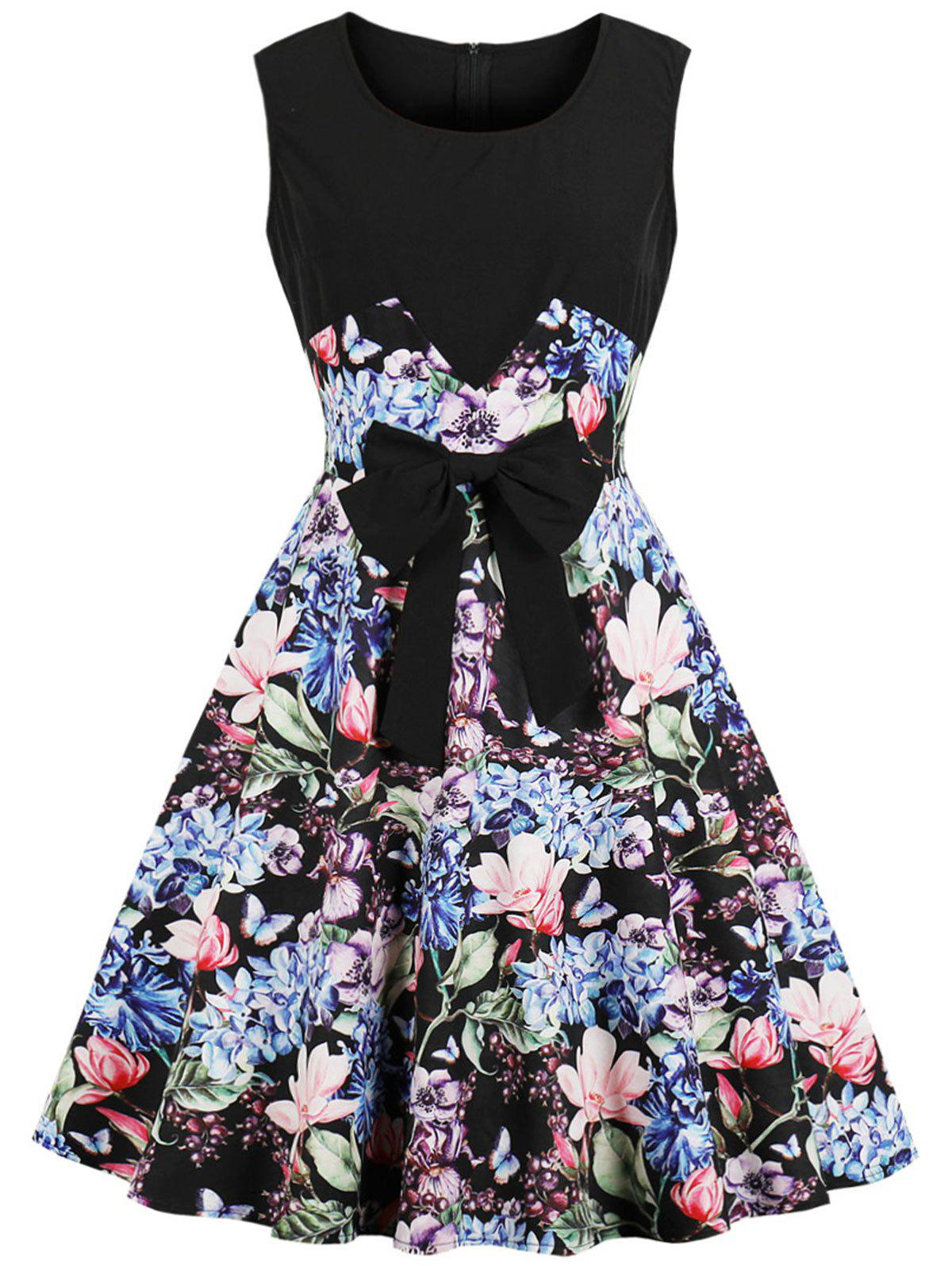 Online Vintage Sleeveless Bowknot Floral Print Pin Up Dress