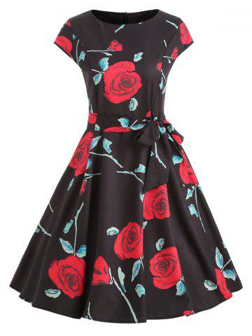Rose Print Cap Sleeve Belted Dress