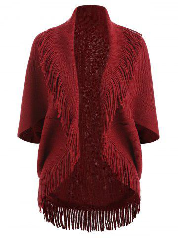 Fringe Short Sleeve Knit Cardigan