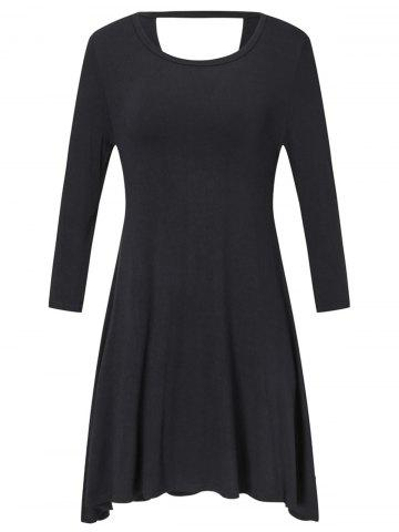 Long Sleeve Plus Size Back Cut Out Shift Dress