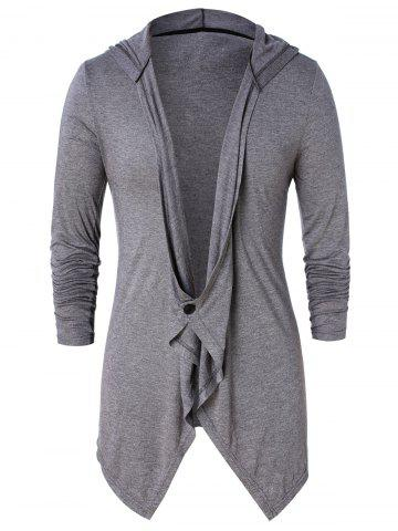 Asymmetric One Button Long Sleeve Hoodie - ASH GRAY - 2XL