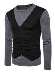 T-shirt à manches longues Casual False Waistcoat -