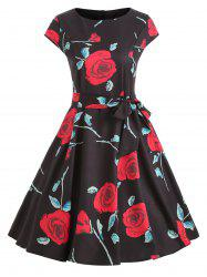Rose Print Cap Sleeve Belted Dress -