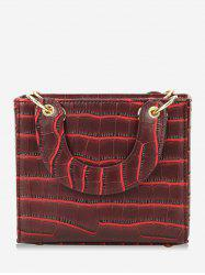 Striped Vintage Leather Small Square Shoulder Bag -