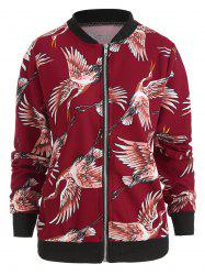 Crane Print Zip Up Jacket -