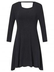 Long Sleeve Plus Size Back Cut Out Shift Dress -