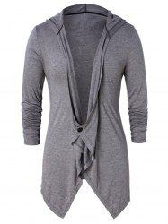 Asymmetric One Button Long Sleeve Hoodie -