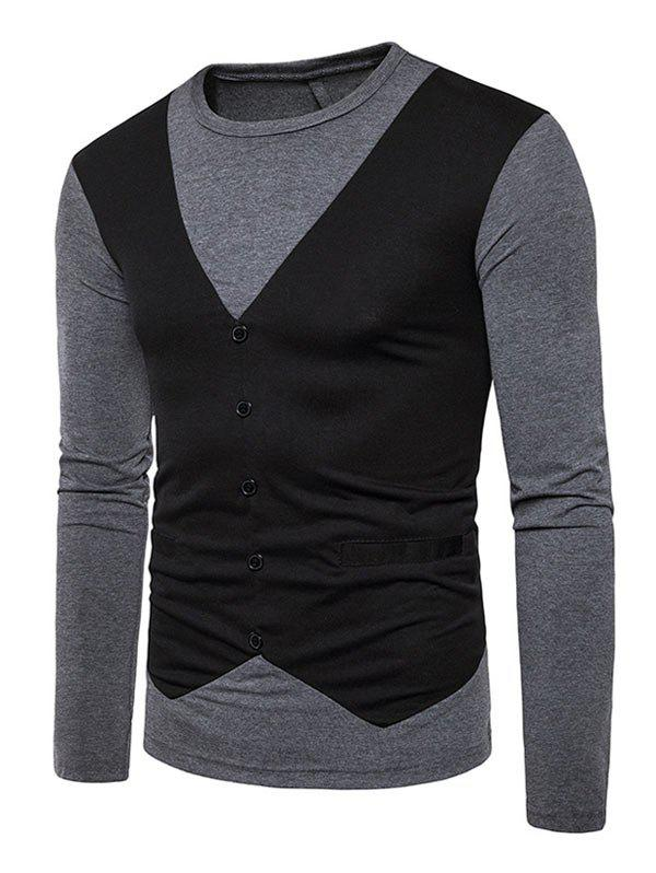 T-shirt à manches longues Casual False Waistcoat