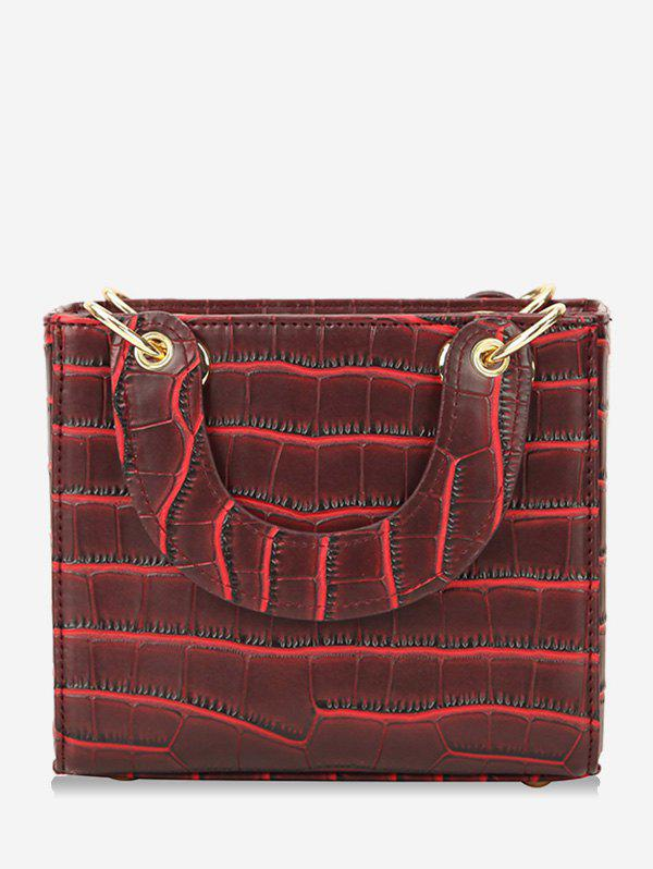 Unique Striped Vintage Leather Small Square Shoulder Bag