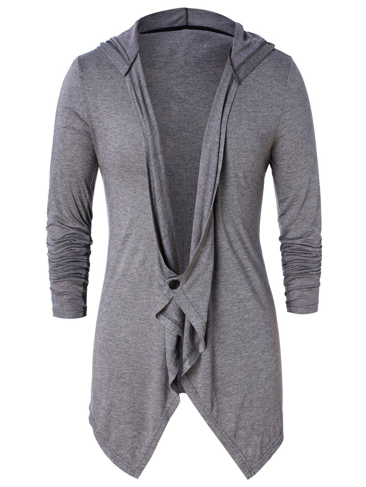 Online Asymmetric One Button Long Sleeve Hoodie