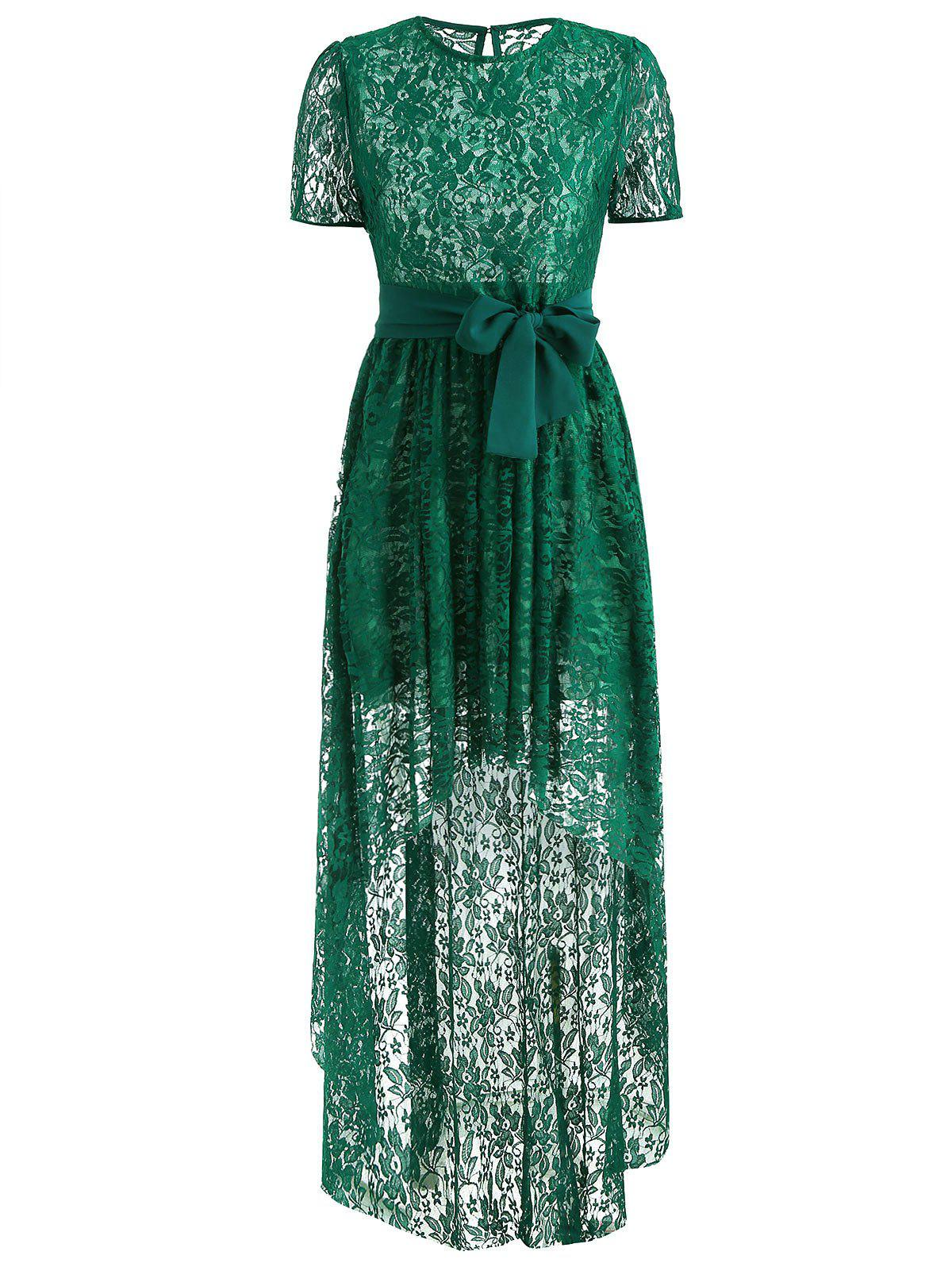 Chic Belted Lace High Low Hem Dress