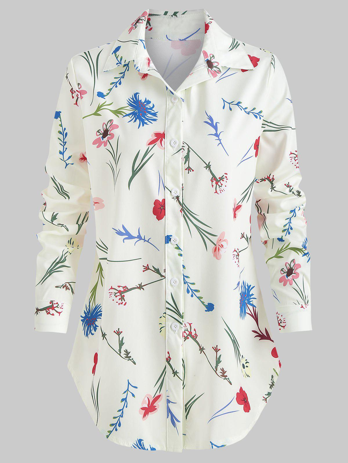 Outfit Floral Print Turn Down Collar Shirt